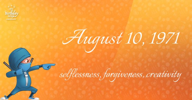 August 10, 1971 Birthday Ninja