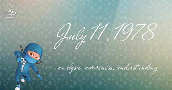 July 11, 1978 Birthday Ninja