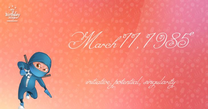 March 11, 1985 Birthday Ninja