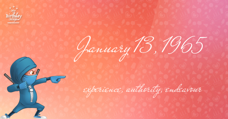 January 13, 1965 Birthday Ninja