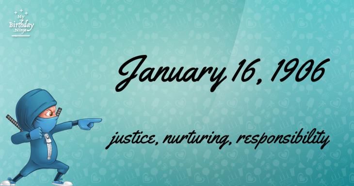 January 16, 1906 Birthday Ninja