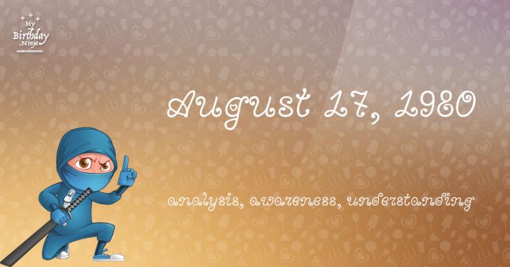 August 17, 1980 Birthday Ninja
