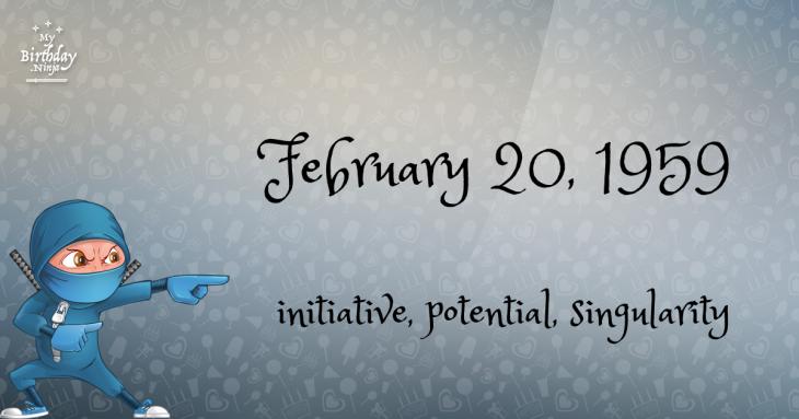 February 20, 1959 Birthday Ninja