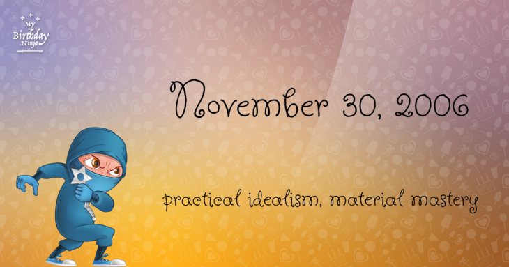 November 30, 2006 Birthday Ninja