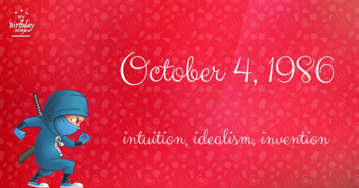 October 4, 1986 Birthday Ninja