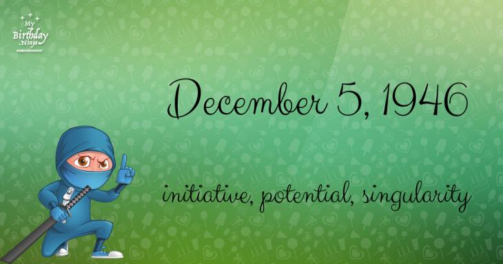 December 5, 1946 Birthday Ninja