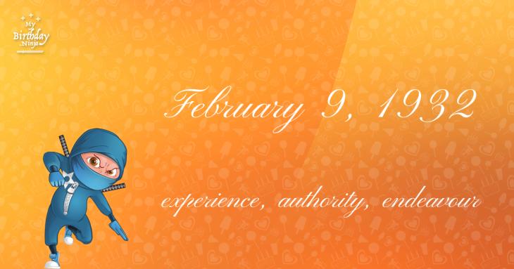 February 9, 1932 Birthday Ninja