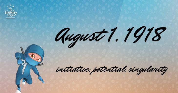 August 1, 1918 Birthday Ninja