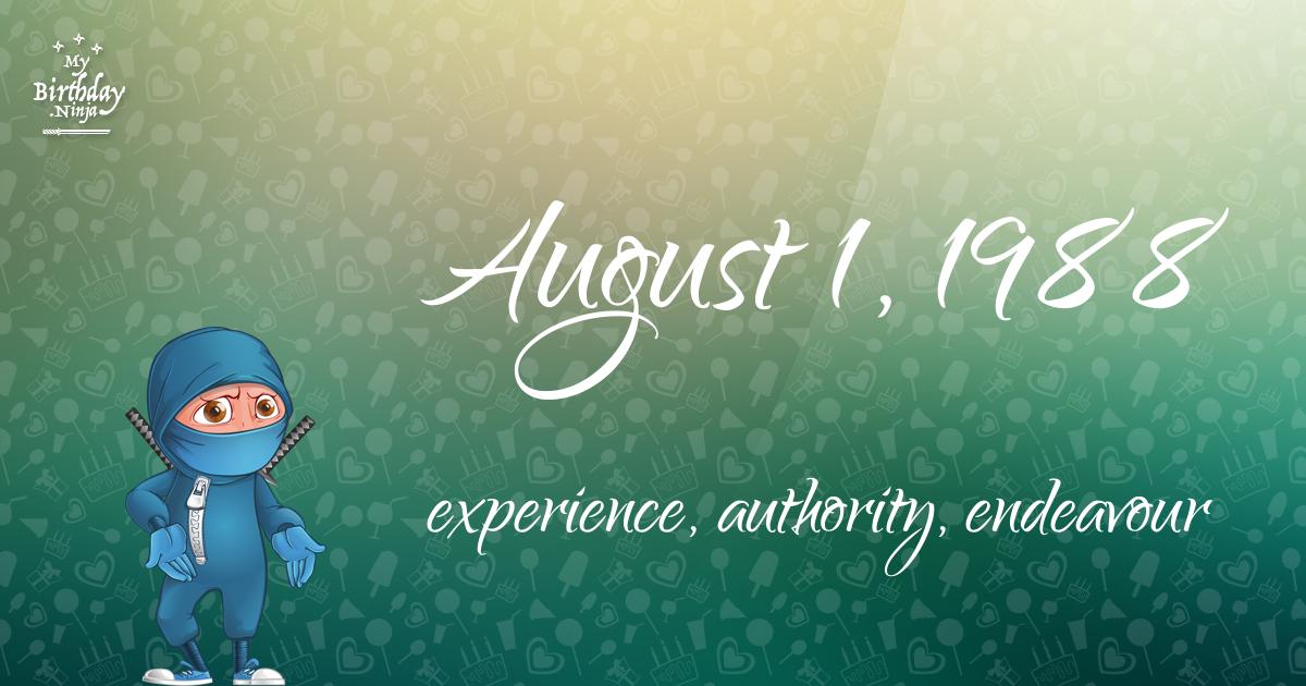 August 1, 1988 Birthday Ninja Poster