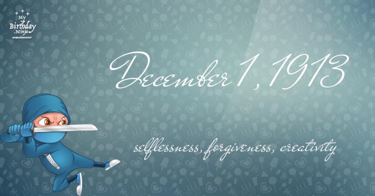 December 1, 1913 Birthday Ninja
