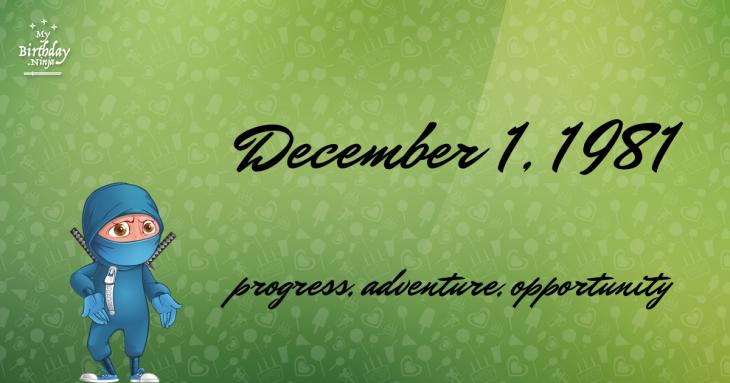 December 1, 1981 Birthday Ninja