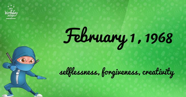 February 1, 1968 Birthday Ninja