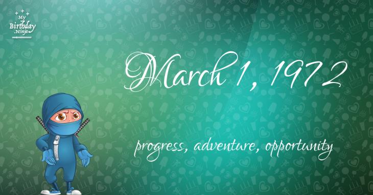 March 1, 1972 Birthday Ninja