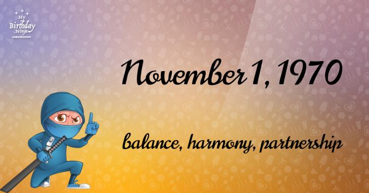 November 1, 1970 Birthday Ninja