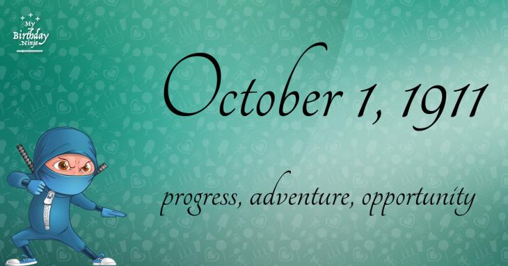 October 1, 1911 Birthday Ninja