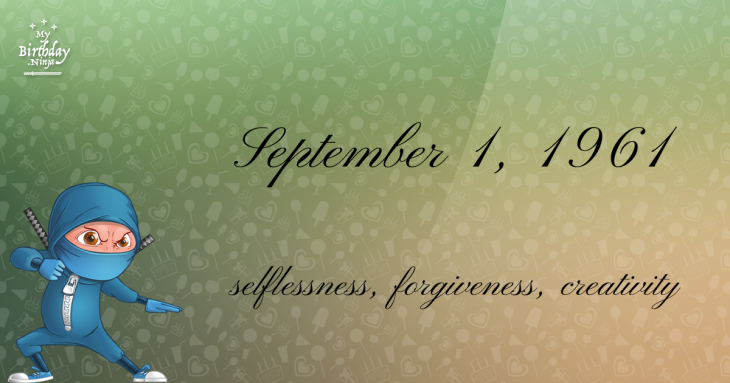September 1, 1961 Birthday Ninja