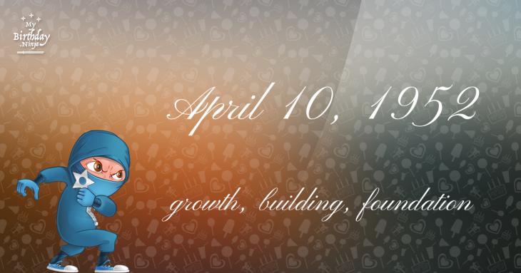 April 10, 1952 Birthday Ninja