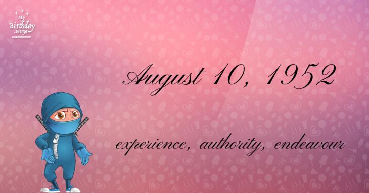 August 10, 1952 Birthday Ninja