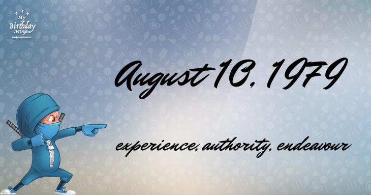 August 10, 1979 Birthday Ninja