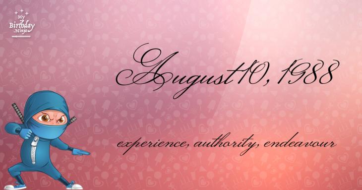 August 10, 1988 Birthday Ninja