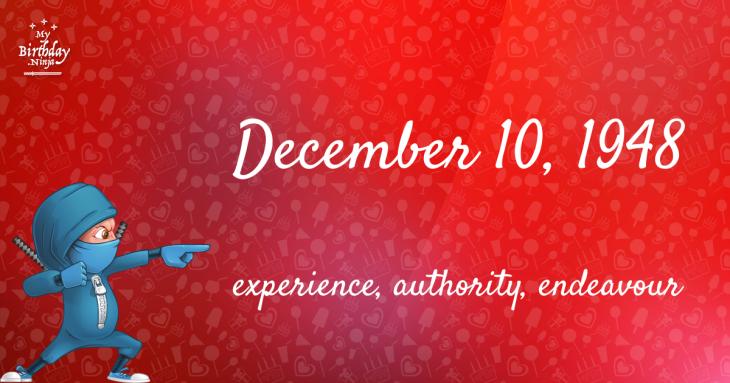 December 10, 1948 Birthday Ninja