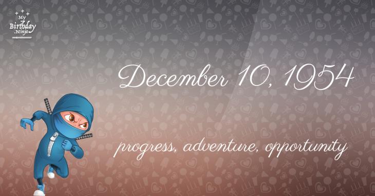 December 10, 1954 Birthday Ninja