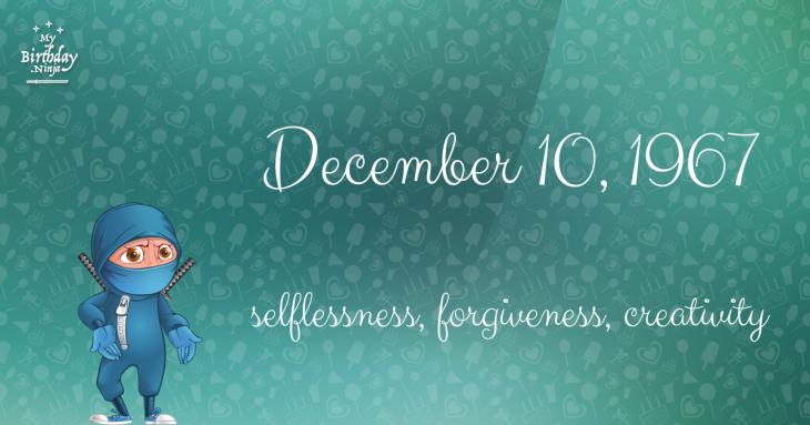 December 10, 1967 Birthday Ninja