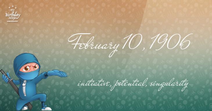 February 10, 1906 Birthday Ninja