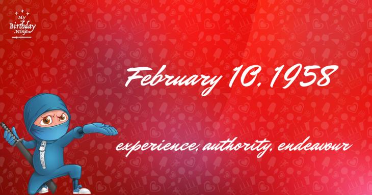 February 10, 1958 Birthday Ninja
