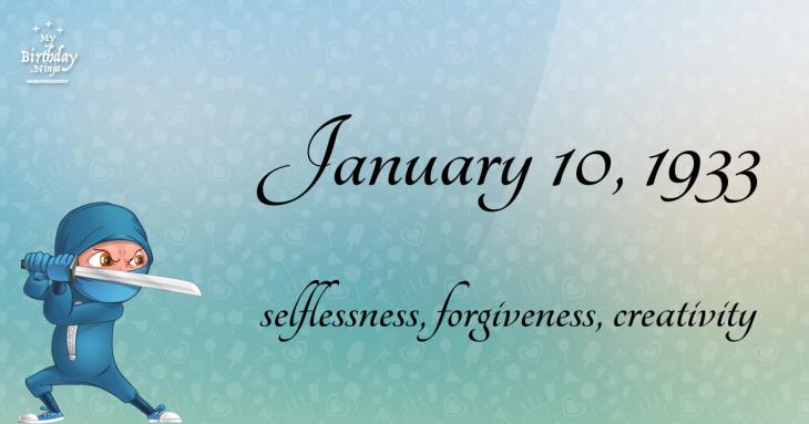 January 10, 1933 Birthday Ninja
