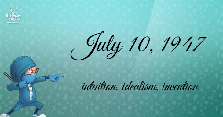 July 10, 1947 Birthday Ninja