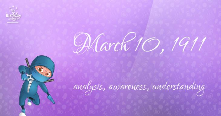 March 10, 1911 Birthday Ninja
