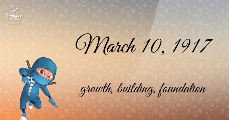 March 10, 1917 Birthday Ninja
