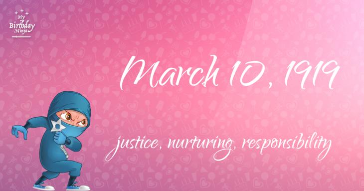 March 10, 1919 Birthday Ninja