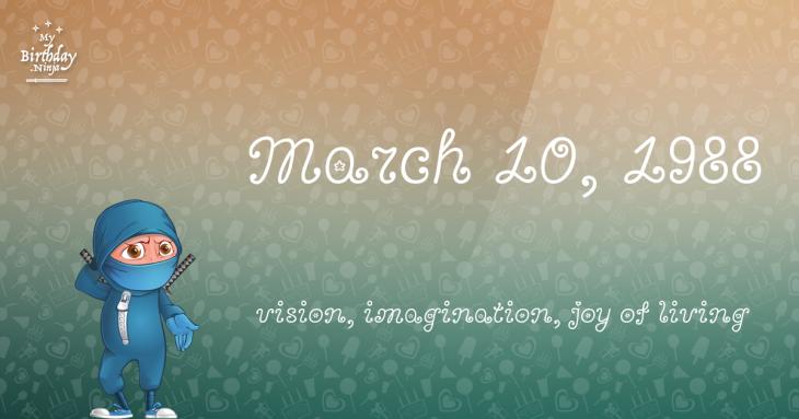 March 10, 1988 Birthday Ninja