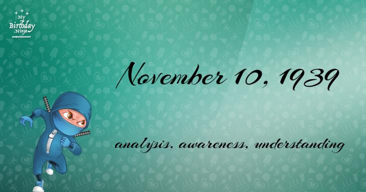 November 10, 1939 Birthday Ninja