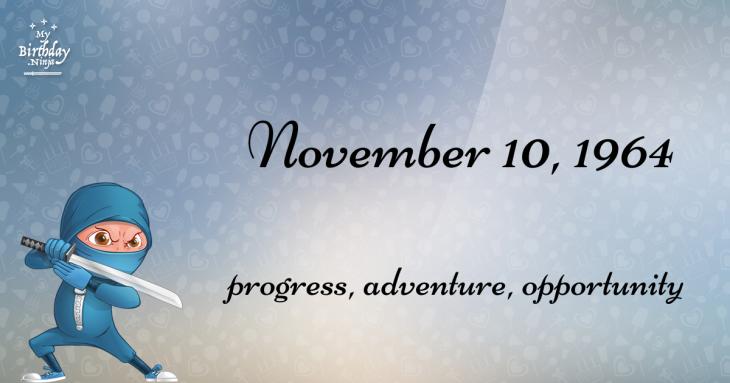 November 10, 1964 Birthday Ninja