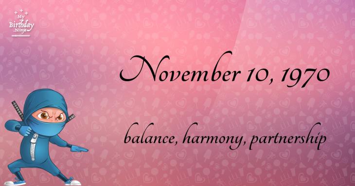 November 10, 1970 Birthday Ninja