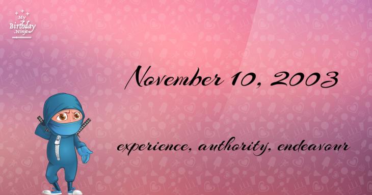 November 10, 2003 Birthday Ninja