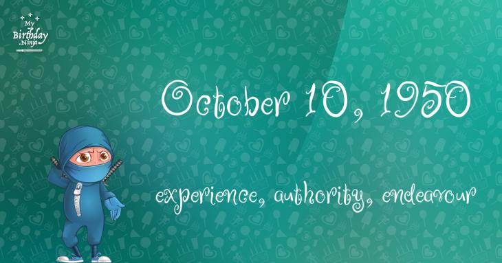 October 10, 1950 Birthday Ninja
