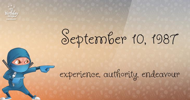 September 10, 1987 Birthday Ninja