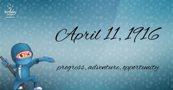 April 11, 1916 Birthday Ninja