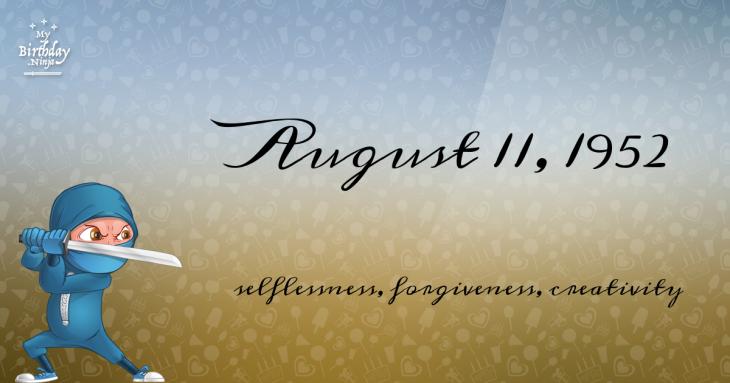 August 11, 1952 Birthday Ninja