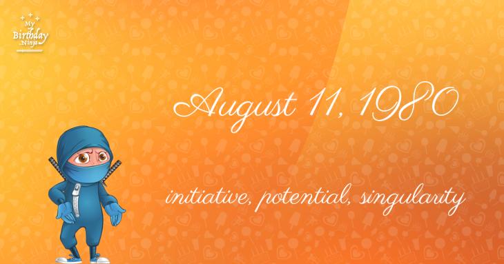 August 11, 1980 Birthday Ninja