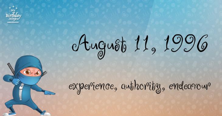 August 11, 1996 Birthday Ninja
