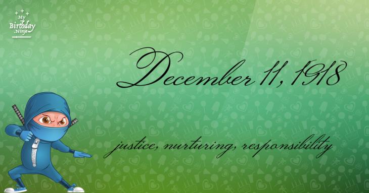 December 11, 1918 Birthday Ninja