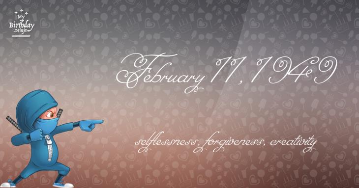 February 11, 1949 Birthday Ninja