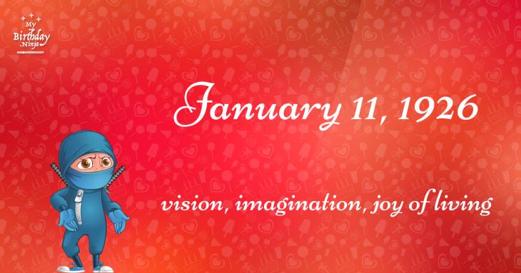 January 11, 1926 Birthday Ninja