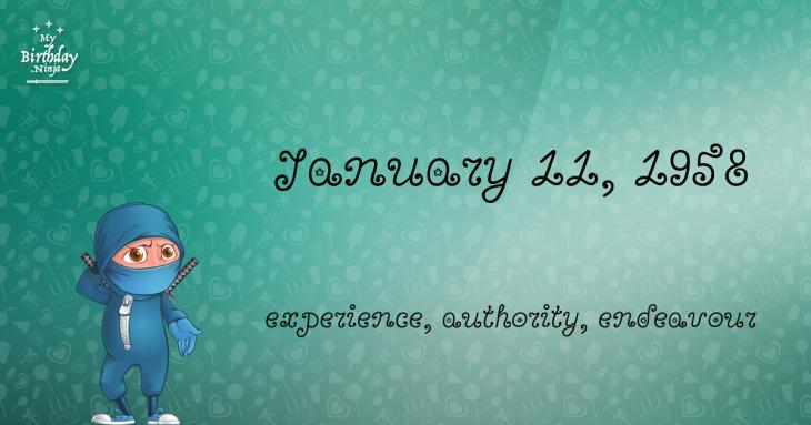 January 11, 1958 Birthday Ninja