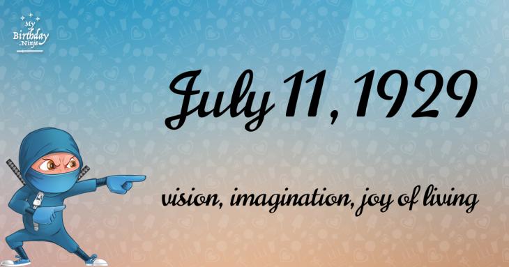 July 11, 1929 Birthday Ninja